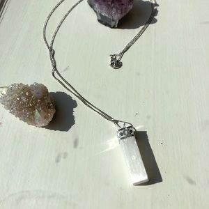 Jewelry - Selenite (long) Pendant on a 24in Silver Chain